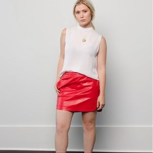 Karina Grimaldi Skirts - Karina Grimaldi Red Leather Skirt, NWT